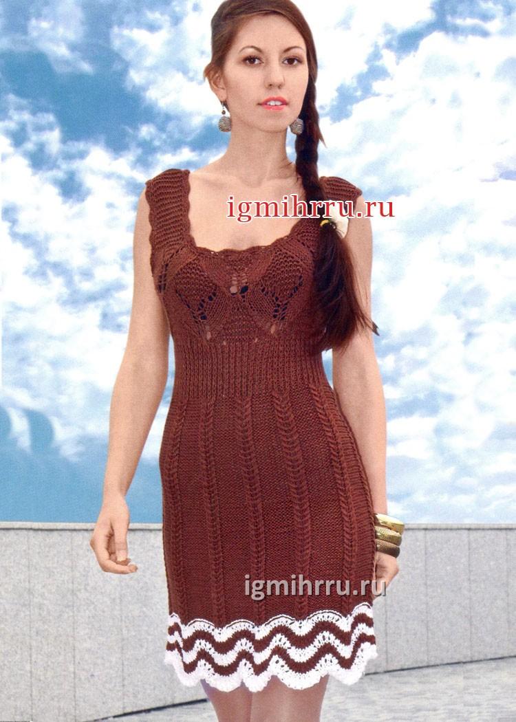 Коричневое летнее платье с сочетанием узоров. Вязание спицами