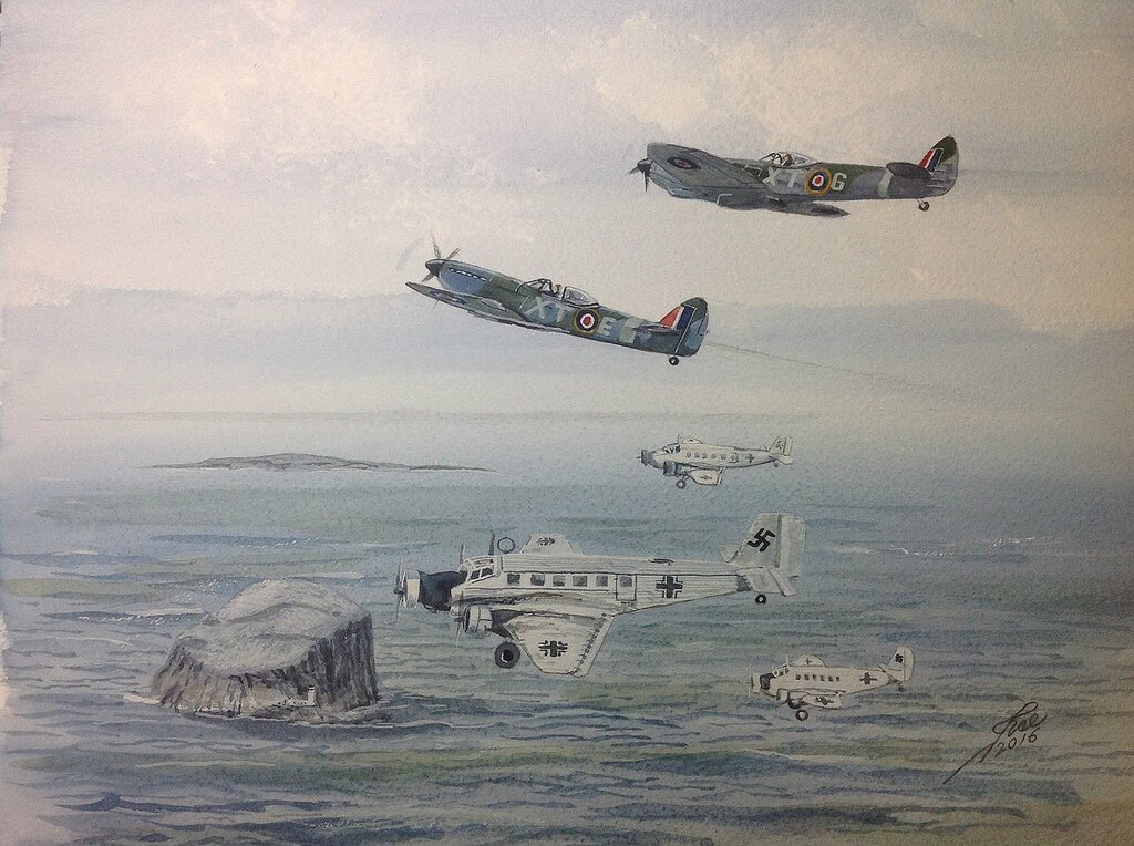 Three Ju52s approaching RAF DREM carrying senior German Officers to discuss The surrender of German Forces in Norway.
