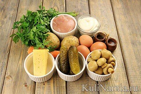 Салат перевертыш с шампиньонами «Грибная поляна»   пошаговый рецепт с фото