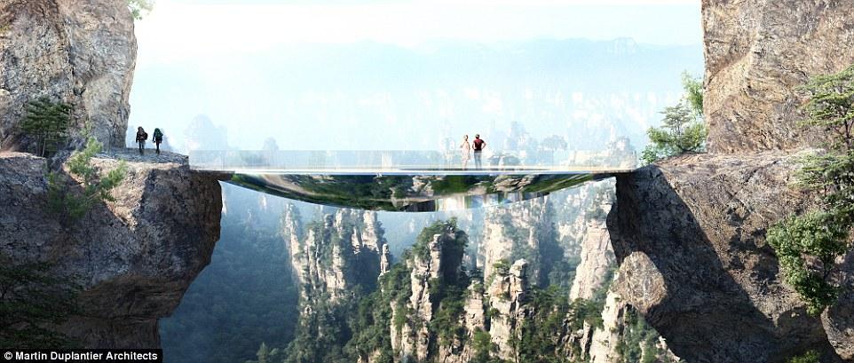 Туристы смогут не только прогуляться по прозрачному мосту, но и остановиться на ночь в одном из трёх