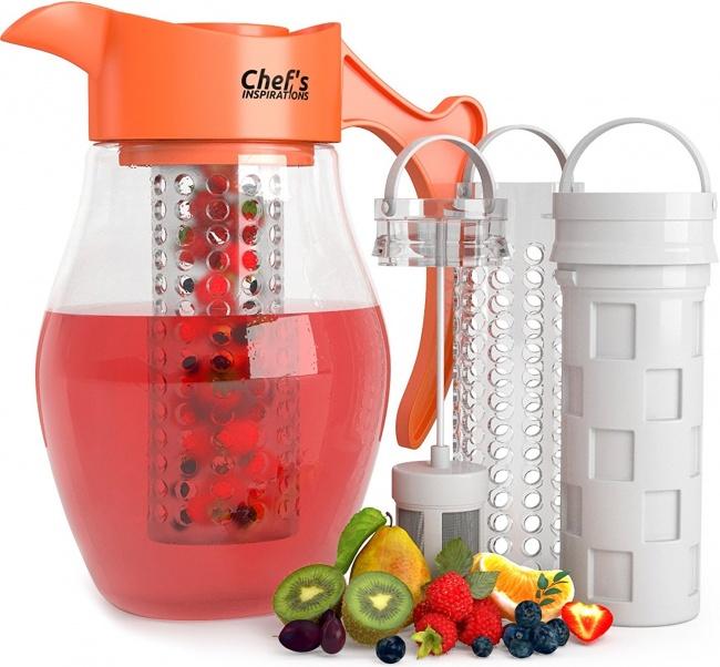 © amazon  Вэтом необычном графине предусмотрены съемные емкости для льда, фруктов ичая. Клас