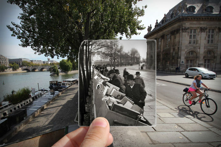 Набережная Конти сейчас и в 1900 году. Вандомская площадь сейчас и в 1871 году. Площадь Оперы сейчас