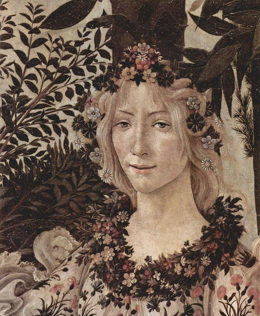 """Сандро Боттичелли. Флора. Фрагмент картины """"Весна"""", 1482 год. Из собрания шедевров мировой живописи... (359).jpg"""