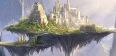 Парящие островные города, самое большое их скопление над морями и реками, как правило, на таких островах расположены элитные загоны для неэволюционировавших сородичей