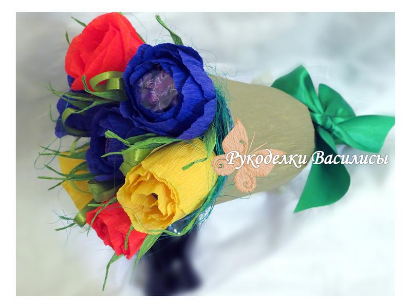 цветы из бумаги, упаковка подарков, свит-дизайн, ручная работа, подарки, оформление подарка, букет из конфет, handwork, handmade, колокольчик из конфет