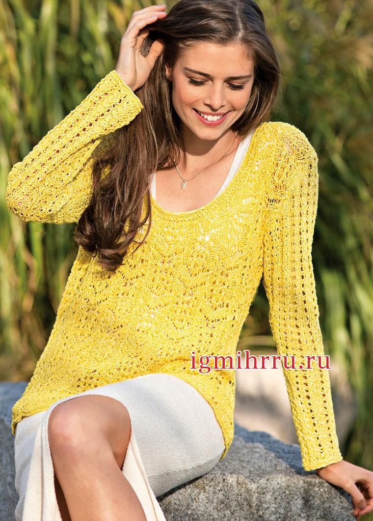 Желтый летний пуловер с ажурными узорами. Вязание спицами