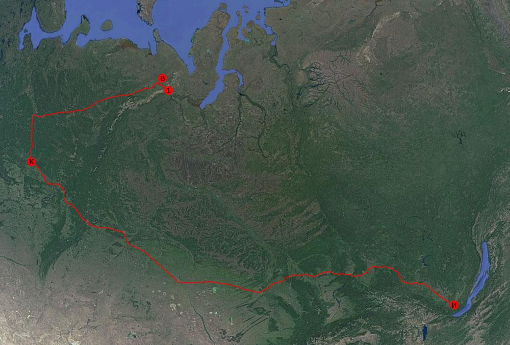 Карта поездки на Полярный Урал