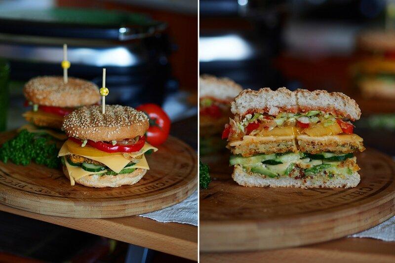 Вегетарианский бургер с фасолевой котлетой и овощами (Готовлю с техникой Gorenje)