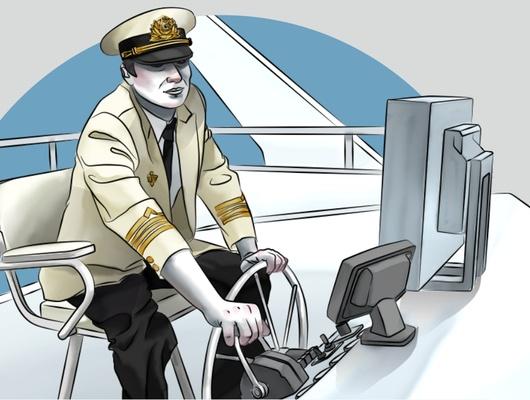Капитан теплохода. Иллюстрация Любови Турбиной