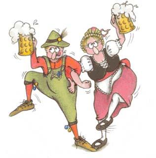 С днем пивовара! Мужчина и женщина танцуют с кружками пива открытки фото рисунки картинки поздравления