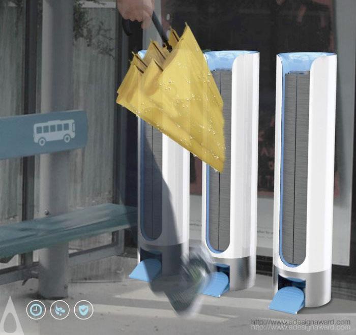 Сушка для зонтов на автобусной остановке от National Taipei University of Technology.