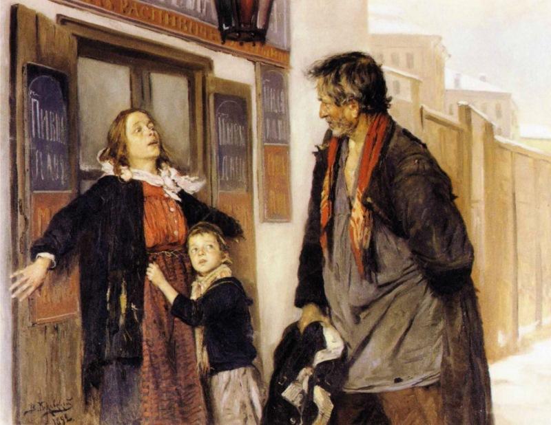 Владимир Маковский — «Тихонько от жены» (1872 год) Если же тщедушный муж боялся супруги, выпивать ем
