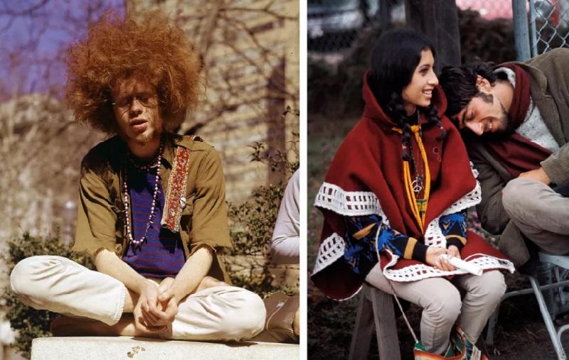 Молодой человек нежится на солнышке на фестивале Вудсток, 1969 год.