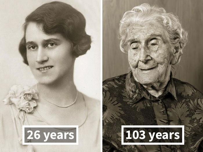 Бедржишка Кёлерова, 26 лет (на свадьбе) и 103 года.