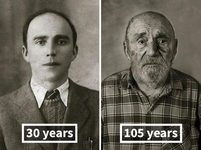 Винсенц Йетелина, 30 лет (окончил строительство своего дома) и 105 лет.