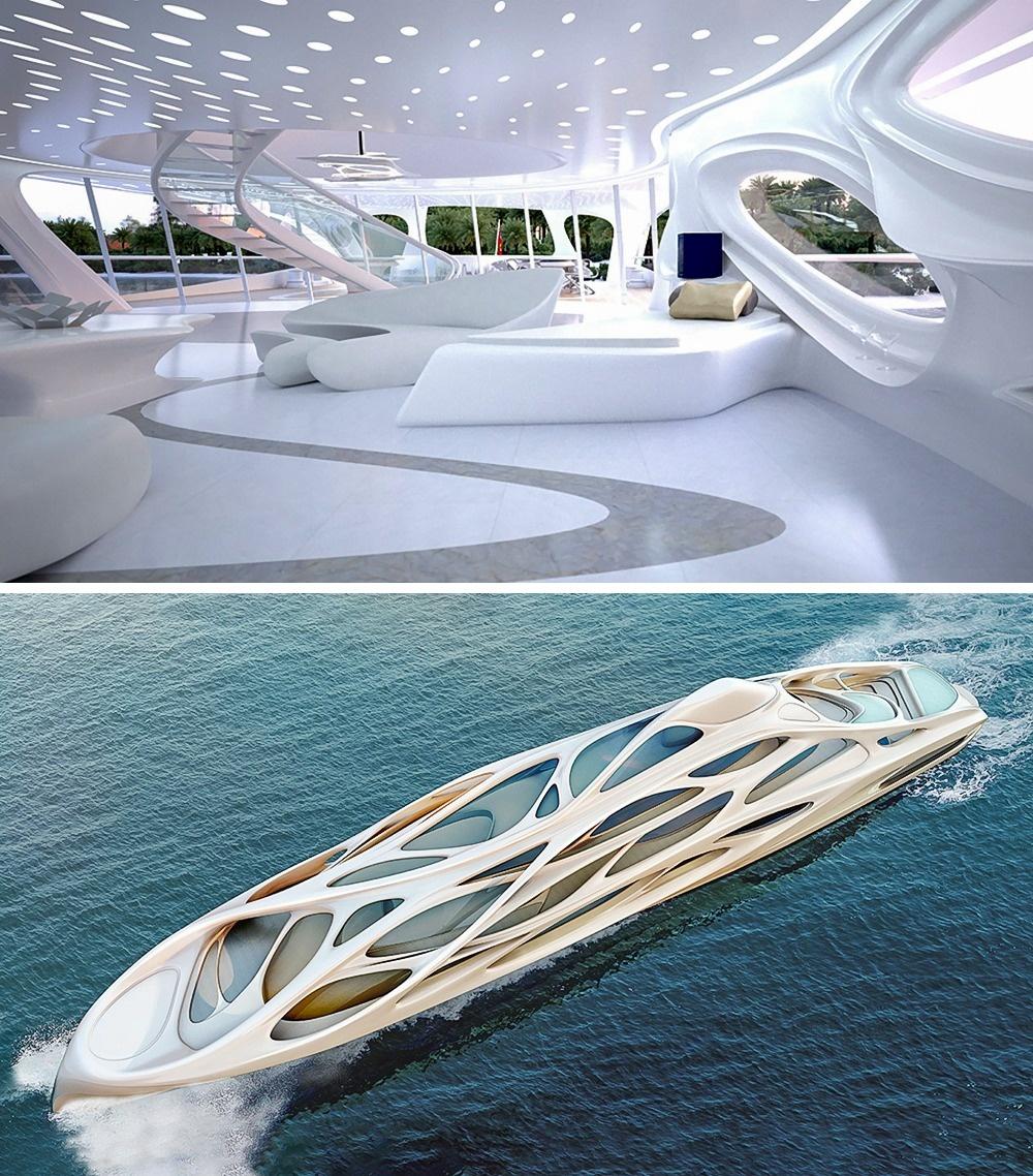 © Zaha Hadid  Прекрасная яхта «Джаз» похожа настремительное иизящное морское животное, аспр