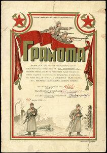 1938 г. Грамота войск НКВДЛО о награждении денежной премией за третье место по гимнастике среди женщин