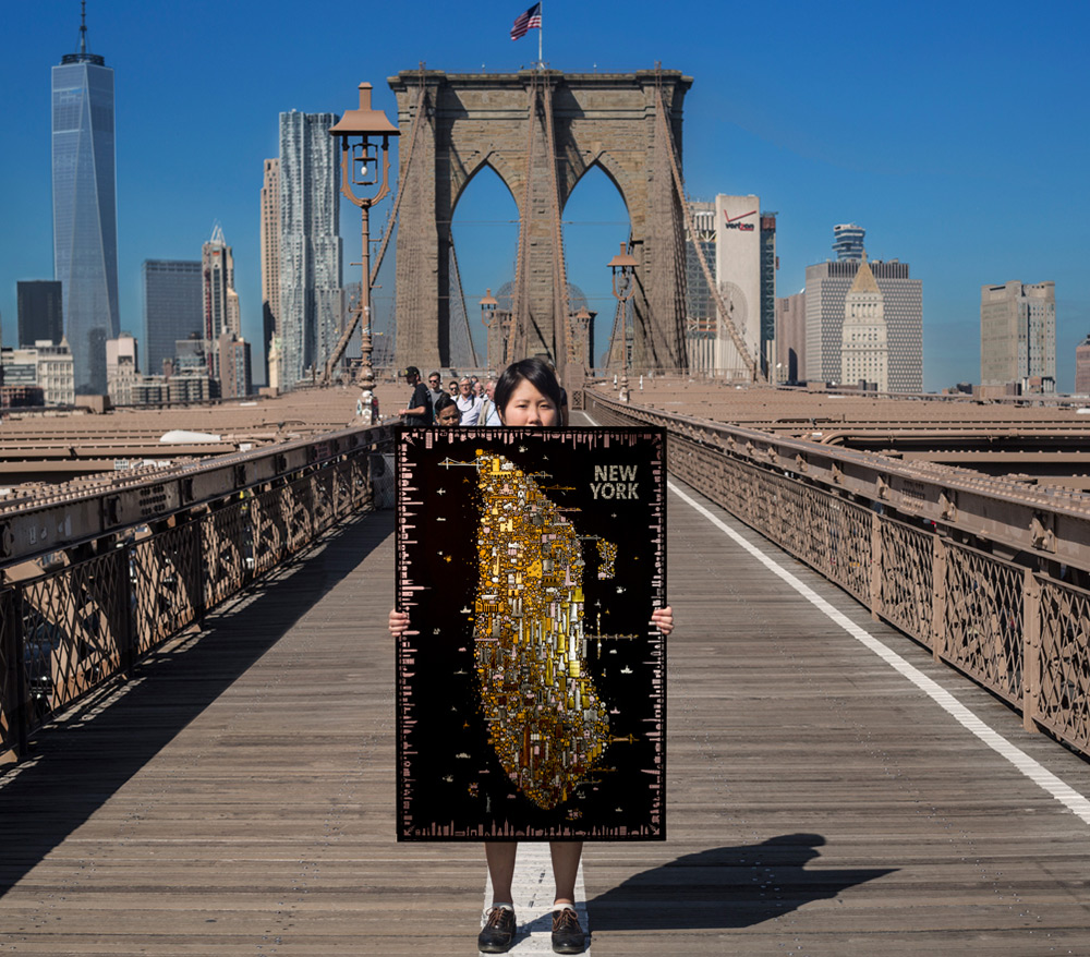 A Stunning Gold Foil Rendering of New York Icons Inspired by Klimt