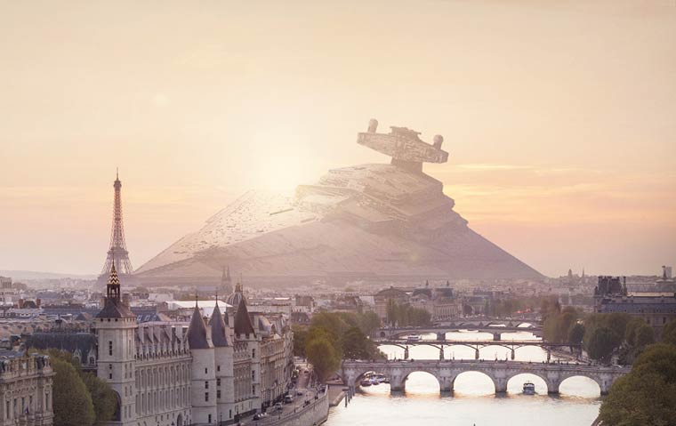 The Star Wars battleships fallen in the cities of Paris, New York or San Francisco (9 pics)