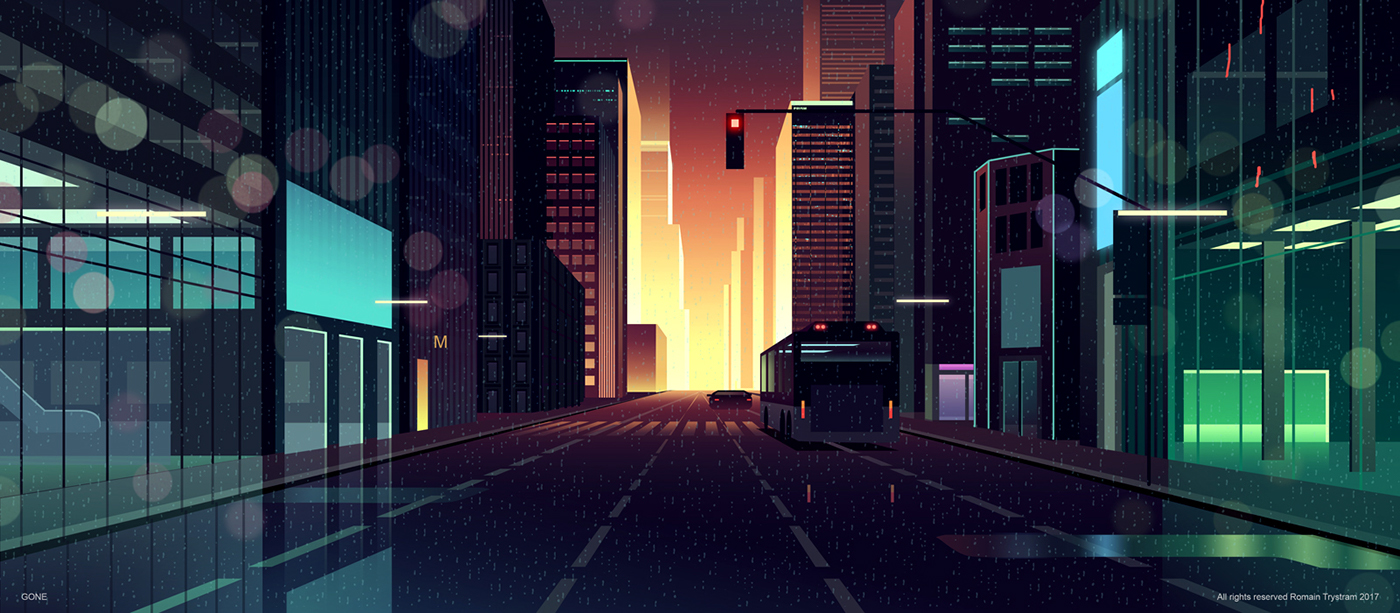 Brilliant Digital Illustrations of a City by Night