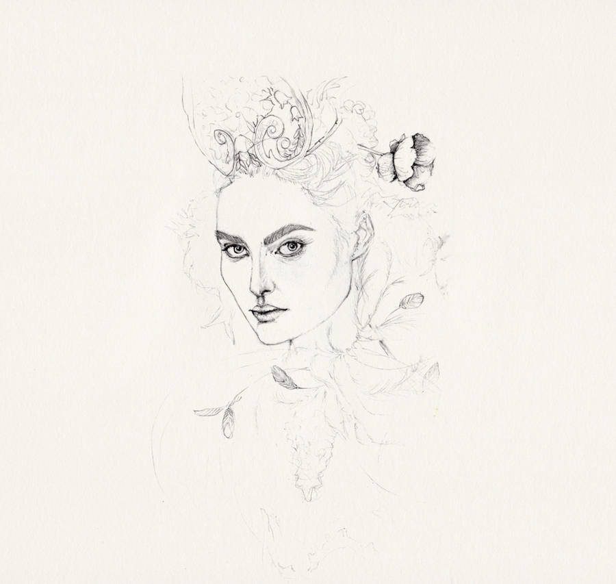 Delicate Pointillism & Pencil Portraits of Women