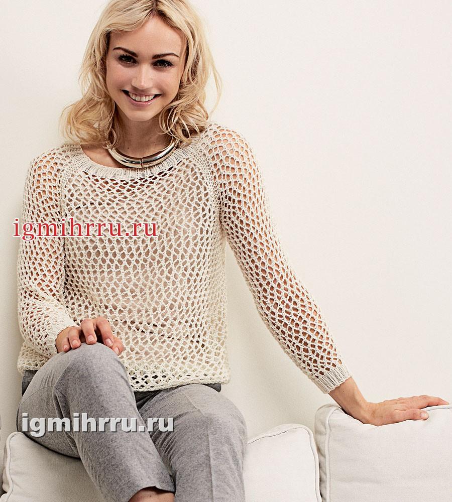 Бежевый пуловер с воздушным сетчатым узором. Вязание спицами