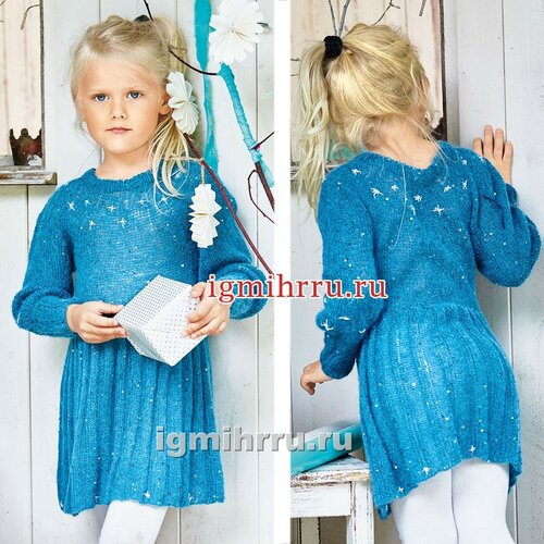 Для девочки 1,5-7 лет. Теплое платье с вышитыми звездочками. Вязание спицами