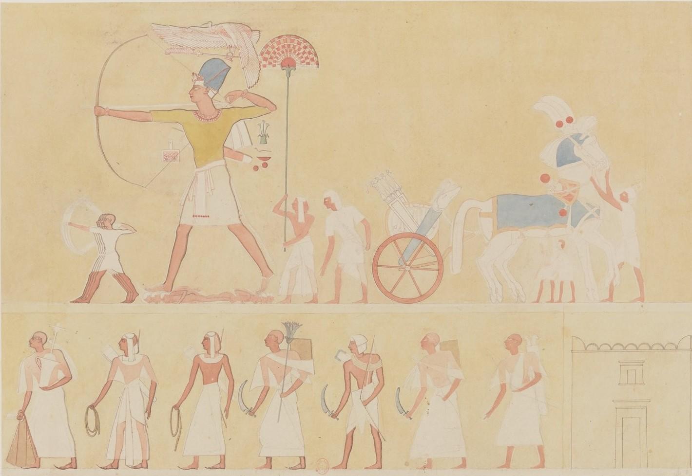 Мединет-Абу. Низкий рельеф наружной стены северного фасада дворца