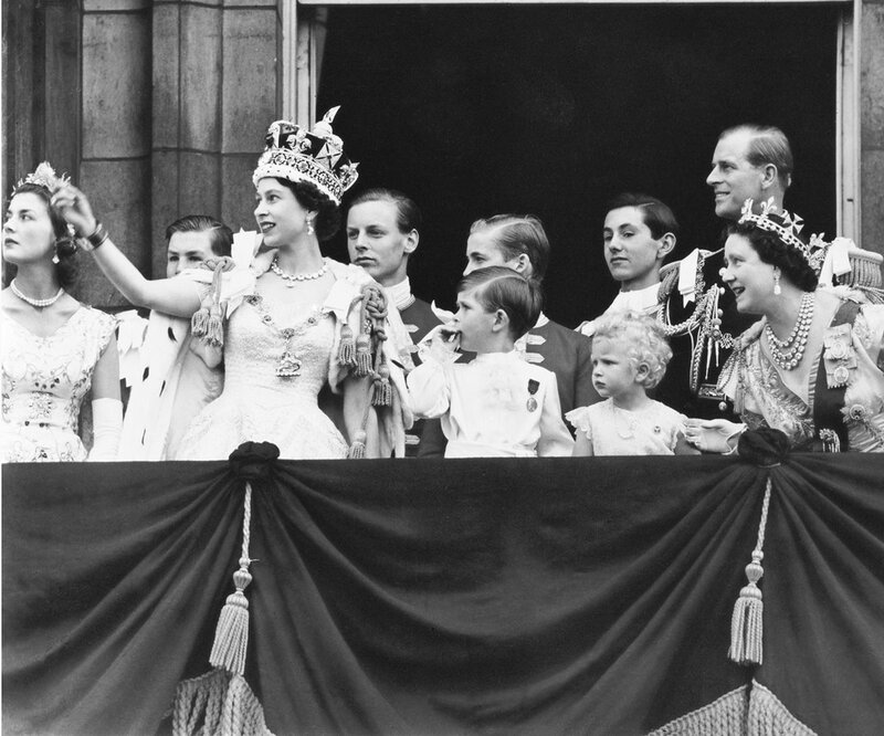 Queen Elizabeth with her family after her coronation