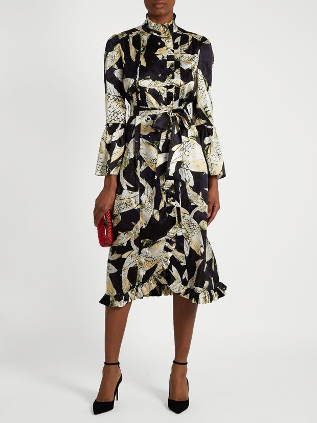 ERDEM Siren Hiro Pond-print silk-satin dress
