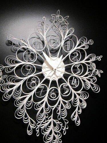 Настенные часы с элементами квиллинга