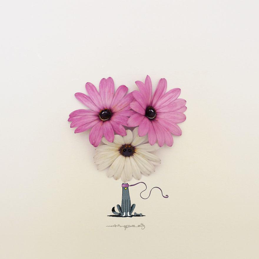 Artista tranforma flores e objetos do cotidiano em arte