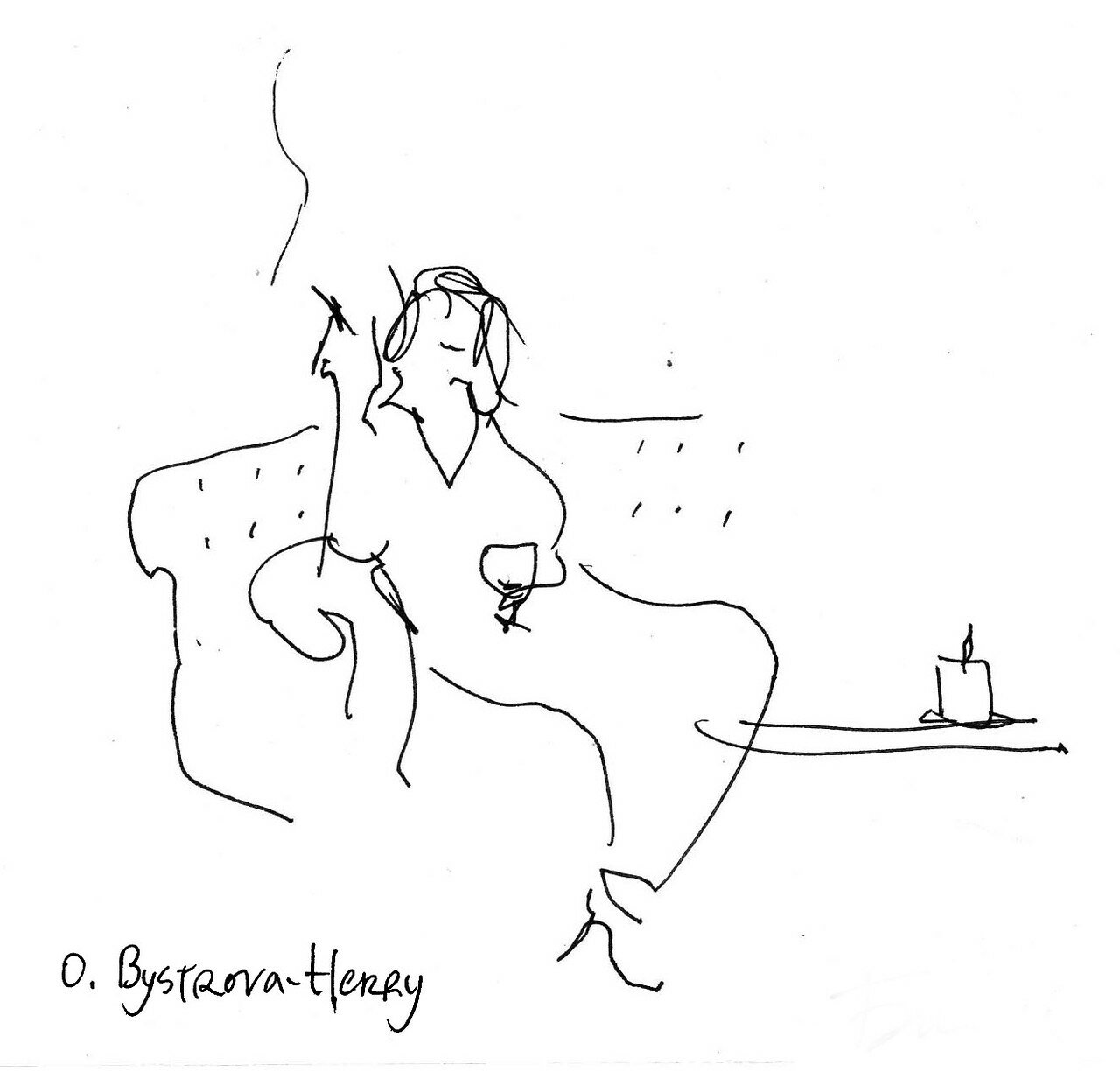 003 cafe draws. Avec une cigarette