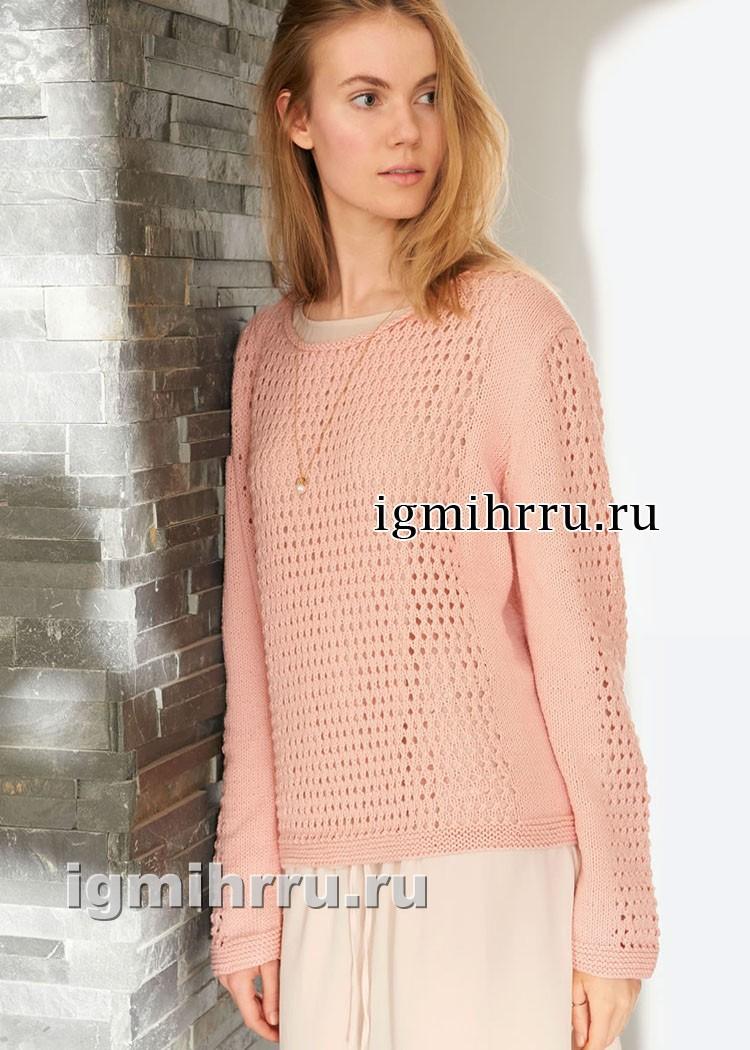 Розовый пуловер с сетчатым узором. Вязание спицами