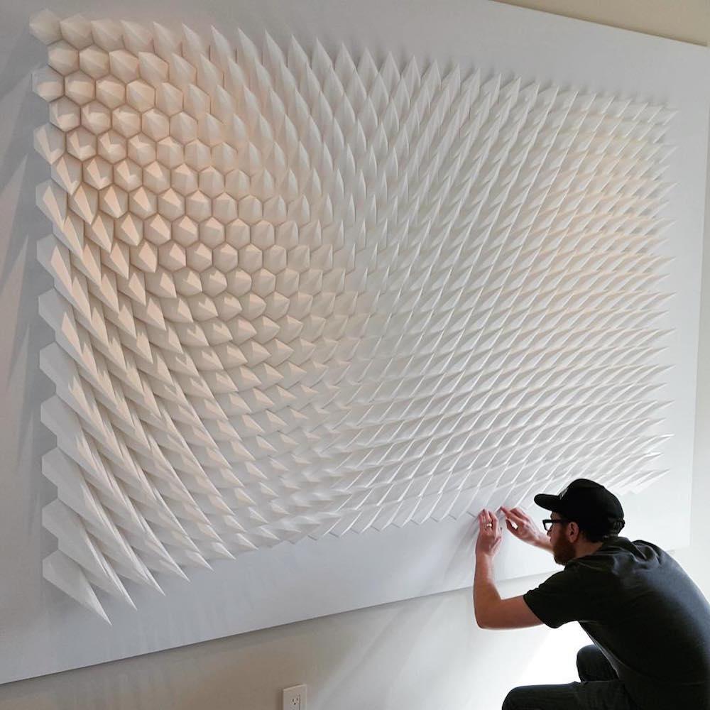 Геометрические скульптуры из бумаги Matthew Shlian (13 фото)