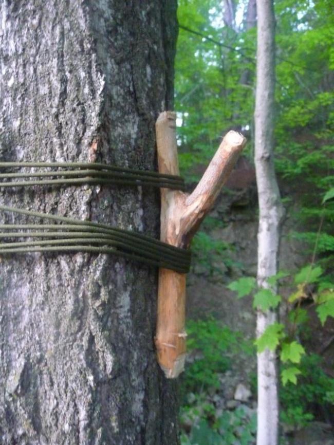 Если на деревьях вокруг вашего лагеря мало веток и некуда вешать пакеты с вещами, сделайте ветки сам