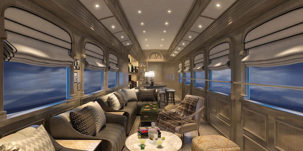 Кстати, в самом большом купе поезда есть комфортабельные двуспальные кровати и кожаные кресла,