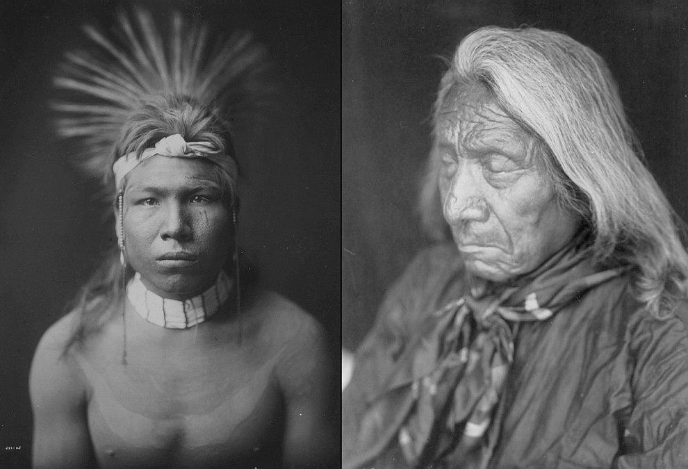 Слева — Восседающий Филин, справа — девушка из древнего поселения индейцев, расположенного непо