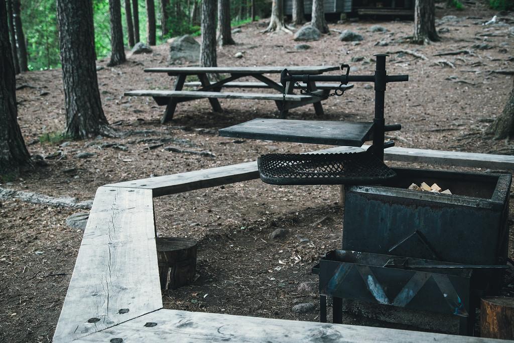 Рядом с костром столики и скамейки, а поскольку место пользуется спросом, то очагов несколько.