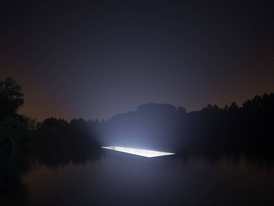 Rectangular Light Installation on Water