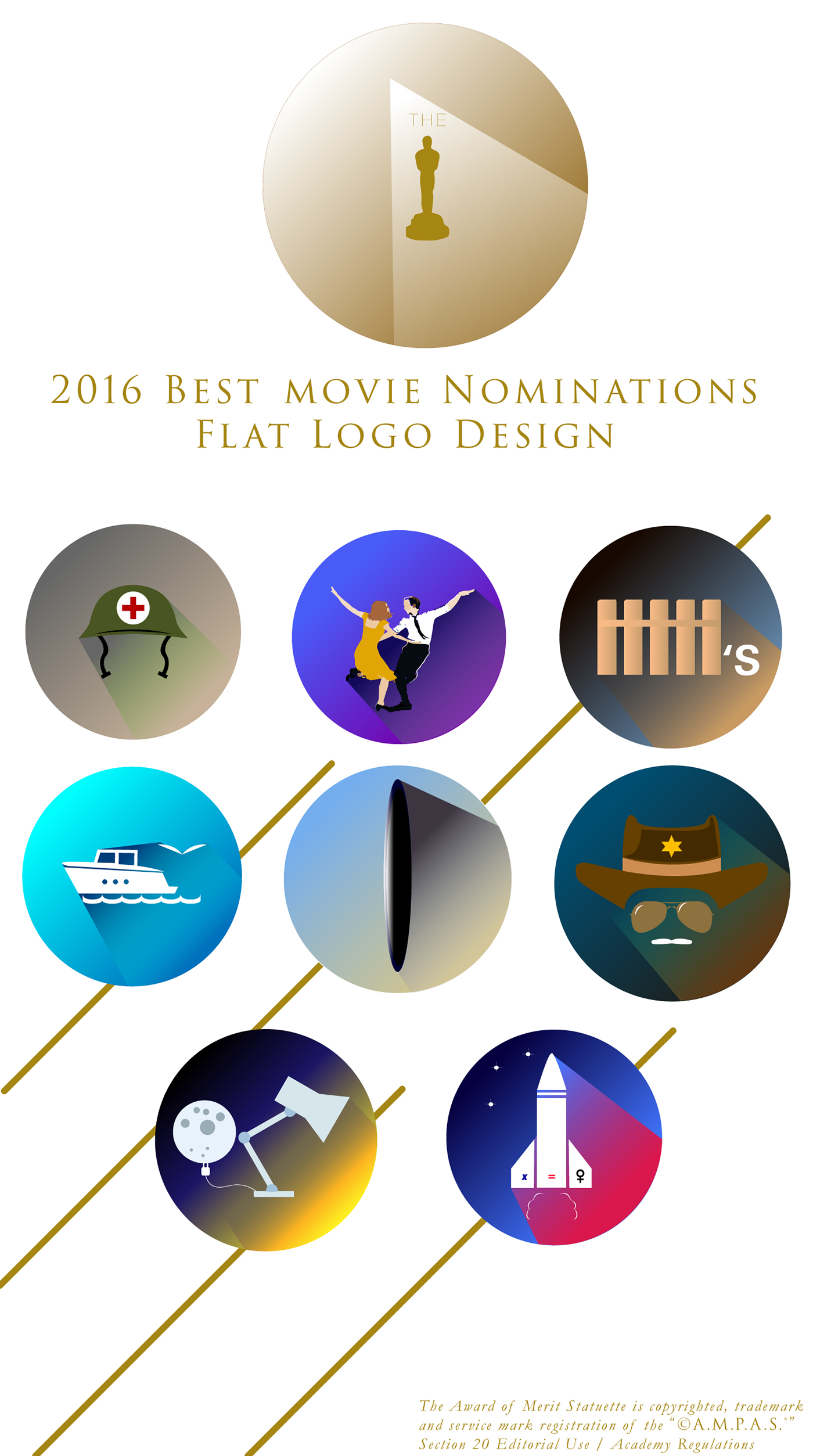 Wonderful Flat Logos of the Best Movie Nominations