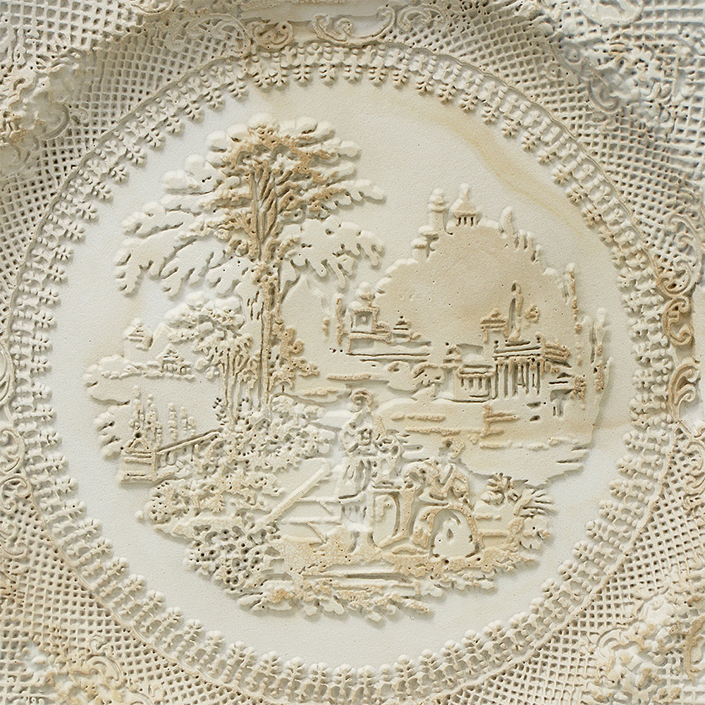 Repurposed Antique Dishware Sandblasted Into Bas-Relief Sculptures by Caroline Slotte