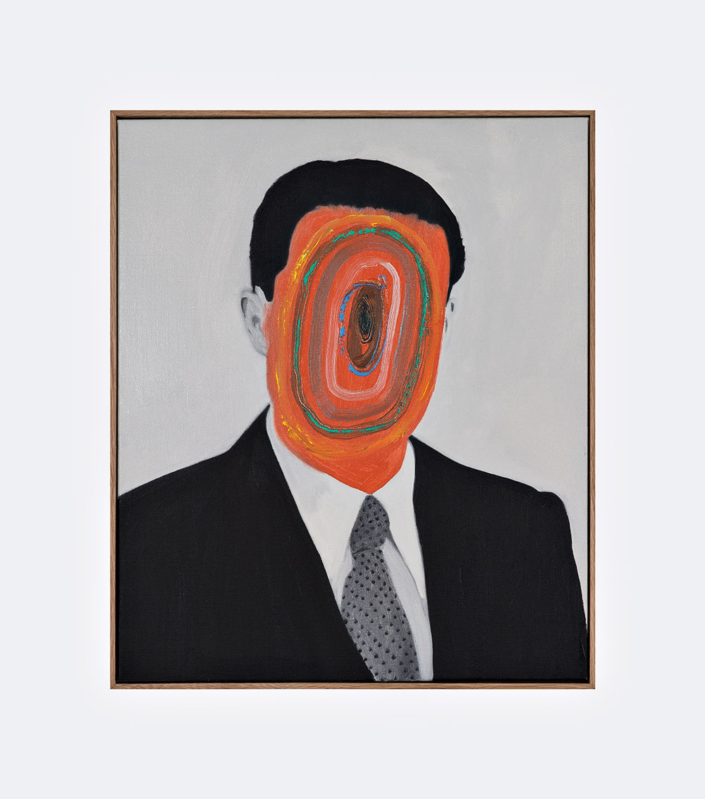 Monochromatic Portraits Obscured by Colorful Abstract Markings by Guim Tio Zarraluki