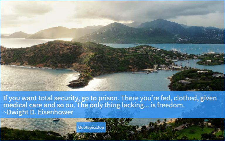 If you want total security, go to prison. There you're fed, clothed, given medical care and so on. The only thing lacking... is freedom. ~Dwight D. Eisenhower