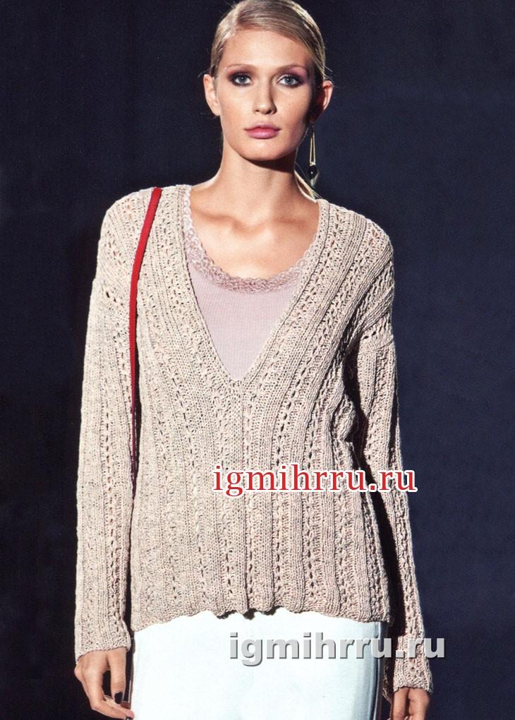 Серебристо-кремовый пуловер с глубоким вырезом горловины. Вязание спицами