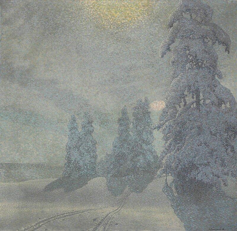 Gustaf Fjaestad. Зимний пейзаж. 1908.jpg