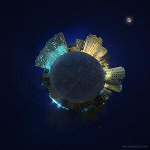 Мой маленький мир панорама, Чебоксары, зима, город, ночь, микропланета, polar, coordinates