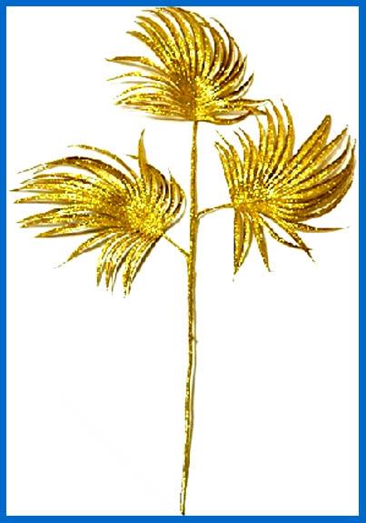 Золотая пальмовая ветвь. синяя рамка