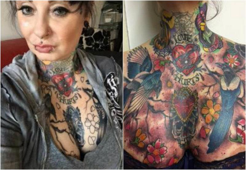 Поклонница татуировок с мордой тигра на заднице