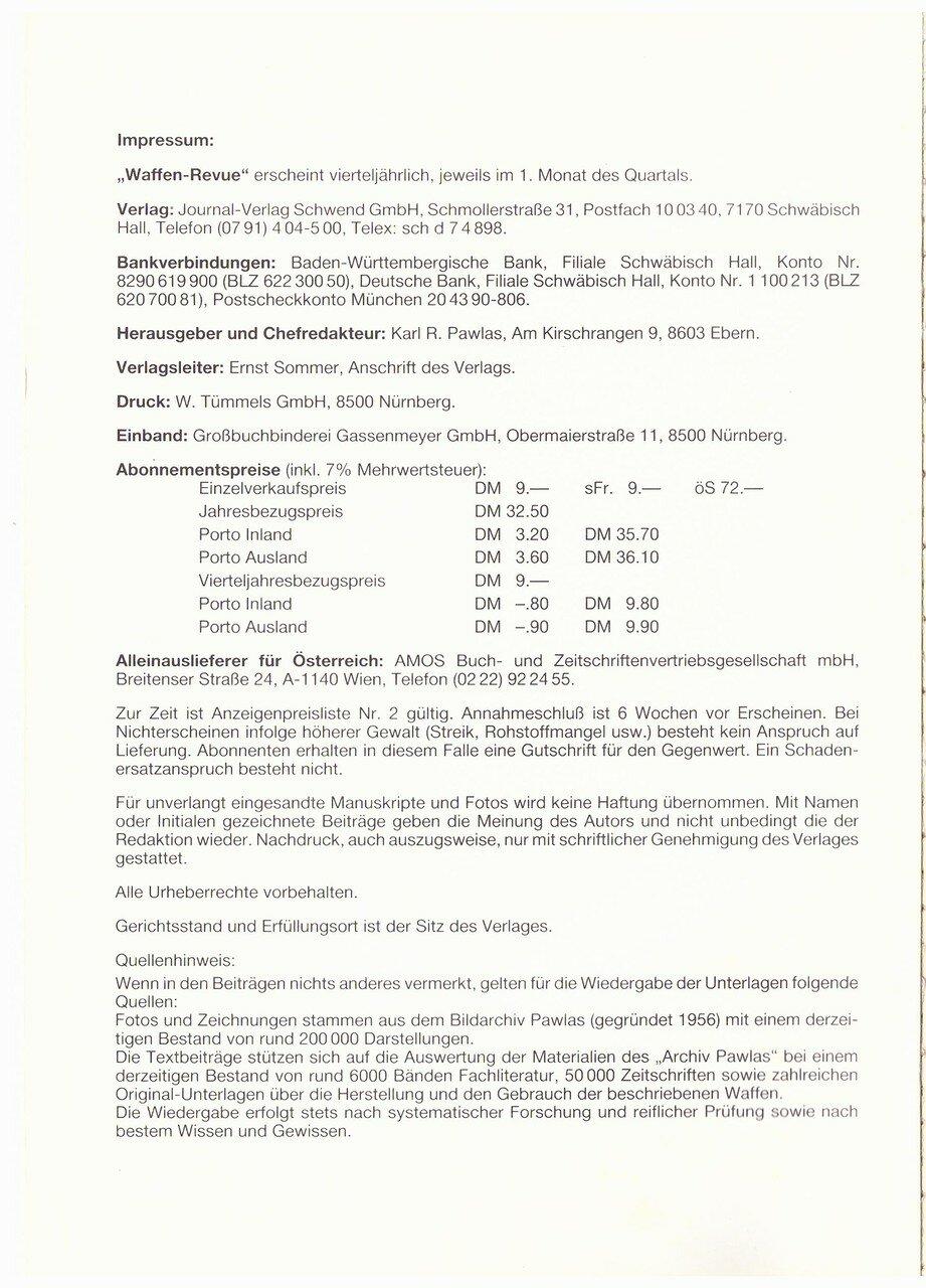 Waffen Revue Nr 64 I Quartal 1987 Sassik